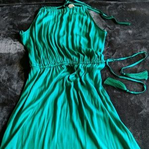 Emerald Green silk Loft Dress